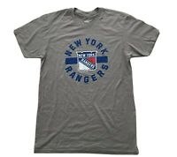 NHL New York Rangers Gray Team Logo T-Shirt Crew Neck Short Slv Men's Size M New