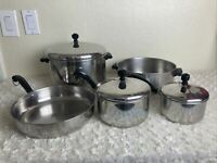 "8 Piece Set Of Vintage FarberWare Pots Skillet Lids 8, 5, 2, 1 Qt &  10"" skillet"