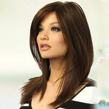 HK- Women Dark Brown Long Straight Partial Bangs Full Wig Heat Resistant Party H