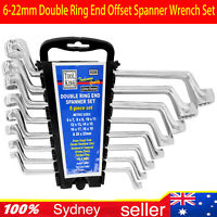 8-Piece Double Ring End Offset Spanner Wrench Set Metric 6-22mm w/Porch AU STOCK