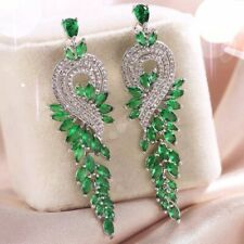 Swarovski Crystal Charm Emerald Chandelier Earrings 18K White Gold Gf Made With