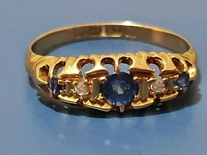 "18ct 750 yellow gold Sapphire and diamond 5 stone Gypsy style ring ""24hrs sales"
