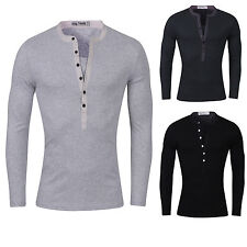 Cotton Blend V Neck Patternless Casual Shirts & Tops for Men