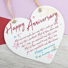 Wedding Anniversary Gift Metal Heart Hanging Sign Happy Anniversary Gifts Plaque