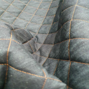 Quilted Denim Fabric 8oz Contrast Stitch Sold by The Metre 3 COLOURS UK SELLER