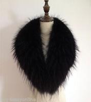 "Black Real Raccoon Fur Collar scarf wrap shawl winter neck warmer 35.4"" 90cm"