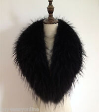 Black Real Raccoon Fur Collar scarf wrap shawl winter neck warmer 35.4inch 90cm