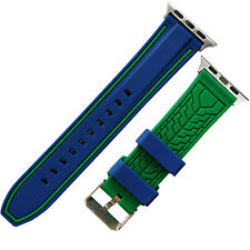 iWatch Blue Green Silicone watch Strap Band compatible with iWatch 42mm