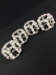 Napkin Ring Holders Clear Beads Gold Safety Pins Homemade Set 4 Elegant Shabby