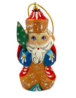 Santa Claus Russian Wooden Ornament Hand Carved Hand Painted Christmas Decor Gif