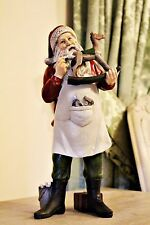 Workshop Santa Painting Rocking Horse Ornament Figurine Christmas Decor 31cm