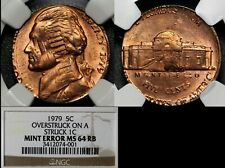 USA ERROR - 1979 5c Overstruck on Struck 1c Double Denomination MS64 (a573)