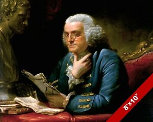 BENJAMIN FRANKLIN FOUNDING FATHER PORTRAIT PAINTING 8X10 REAL CANVAS PRINT