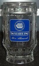 Belle & Ancienne Chope à Bière en Verre WALSHEIM Bière Allemande 25 cl Bon Etat