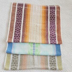 Vintage Retro 3 blue orange green flower Hand Towel Towels 60s 70s 80s vw camper