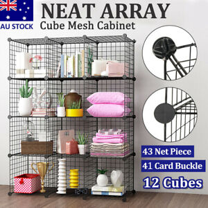 6 to 12 Cube DIY Wire Storage Shelves Cabinet Metal Display Shelf Toy Book Unit