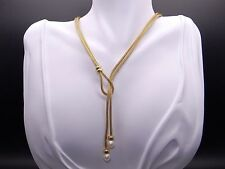 14k Yellow Gold 7mm White Akoya Pearl Toggle Necklace 15.5 inch