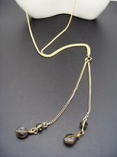 $18 Nordstrom Dainty Double Beaded Brown Crystal Lariat Necklace Goldtone Chain