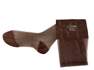 Exclusively Yours Corbett's Flat Knit Seamless Sheer Stockings Brown Sz 10 NOS