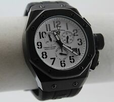 Swiss Legend Trimix Diver Mens Watch, Black IP, White Chrono Dial, Rubber Strap