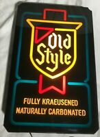 "Vintage OLD STYLE Lighted Beer Bar Advertising Sign ""Fully Kraeusened . . """