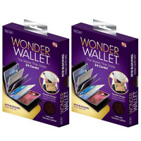 2pcs Original Wonder Wallet Amazing Slim RFID Wallet As Seen on TV Black Leather