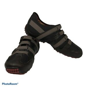 Tsubo E2-05 Mens Leather Hiking Trail Low Adjustable Stretch Shoes Black Sz 10