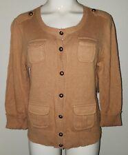 NWT Relativity Camel Brown Cardigan Sweater PM Petite Medium 3/4 Sleeve