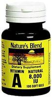 Nature's Blend Vitamin A 8,000 IU 100 Softgels