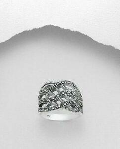 MARCASITE STERLING SILVER Intertwined RING classy elegant statement vintage