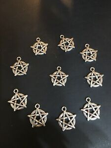 Pentagram Mini Charms X 10 2cm Silver Tone Pagan Wiccan Jewelly Making  -new