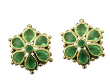 E036- Genuine 9ct Yellow Gold NATURAL Emerald Daisy STUD Earrings Blossom Flower