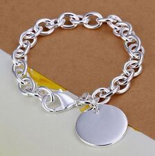 925 Stamped Sterling Silver Layered THICK PLAIN CHUNKY CHAIN LINK BRACELET Tag