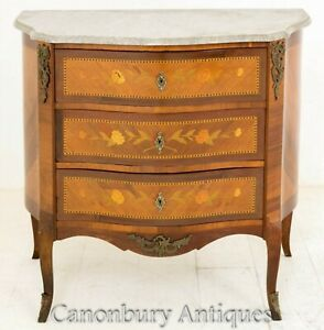 French Commode Chest Drawers - Antique Inlay 1920