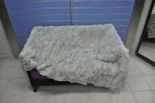 Natural Cream White Rex Fur Throw Chinchilla Fur Bedspread / Blanket