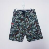 Billabong Mens Size W30 Green Camo Camouflage Swim Surf Board Shorts