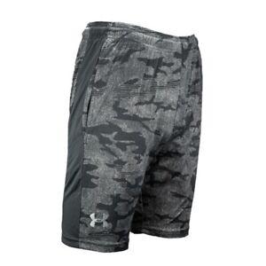 New Men's Under Armour Woven Graphic Shorts Light Gray/Black Camo Print XL