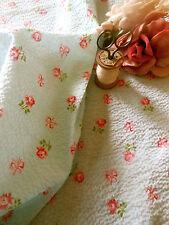 Antique Roses Bows Seersucker Plisse Cotton Fabric ~ Soft Blue Pink