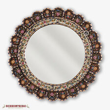 "Decorative Cuzcaja Round Mirror for wall 17.7""- Peruvian Wall Accent Mirrors"