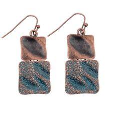1Pair Women Vintage Boho Tibetan Bronze Carved Square Tassel Dangle Earrings
