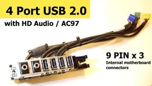 9 PIN Motherboard Internal 4 Port USB 2.0 A Female AC97 HD Audio Adapter IO Hub