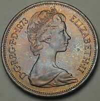 1973 Great Britain Ten New Pence BU GORGEOUS RED BLUE COLOR TONED GEM UNC (SS)