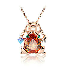 Fashion Jewelry 18K Rose Gold Plated Shining Topaz Green Eyes Frog&Coin Necklace