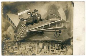 Antique RPPC Real Photo Postcard Rose City Portland Oregon Prop Airplane Men - e