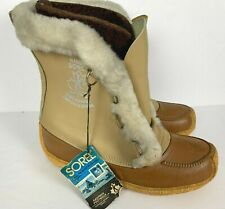 Vtg Sorel Nanook 1970's Beige Wool Insulated Winter Snow Boots Size 9