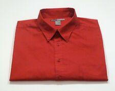 George Foreman Mens 4XLT-6XLT Cotton Button Collar Red Short Sleeve Pocket Shirt