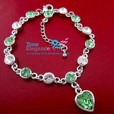 18k white gold gf solid Bracelet bangle heart pendant made with swarovski