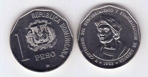 DOMINICAN REPUBLIC 1 PESO UNC COIN 1992 YEAR KM#82 COLUMBUS