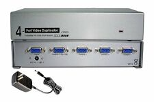4-Way Port SVGA VGA Multi Video Monitors Duplicator 450MHz Amplified Splitter