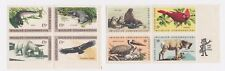 4 Sets of 1970s 8 cent Block Stamps Wildlife Conservation Colonial Craftsmen